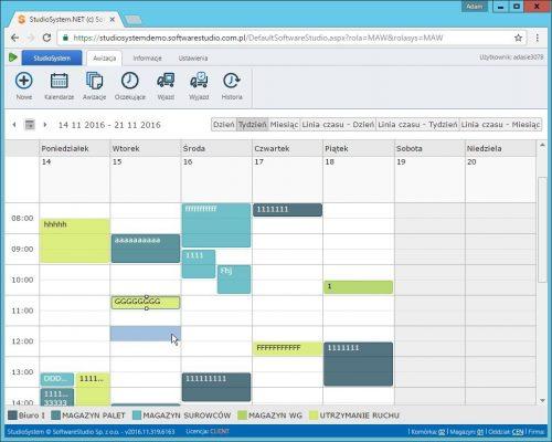 oprogramowanie awizacje kalendarz tydzien